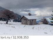 Купить «Small, stone church in the mountains (Greece, Peloponnese)», фото № 32938353, снято 24 декабря 2019 г. (c) Татьяна Ляпи / Фотобанк Лори