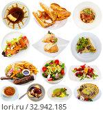 Купить «Set of French dishes isolated on white», фото № 32942185, снято 23 мая 2020 г. (c) Яков Филимонов / Фотобанк Лори