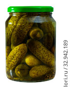 Купить «Marinated cucumbers in glass jar», фото № 32942189, снято 22 февраля 2020 г. (c) Яков Филимонов / Фотобанк Лори