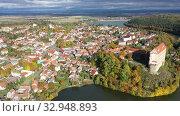 Купить «Scenic view of the medieval castle of Plumlov. City of Plumlov. Czech Republic», видеоролик № 32948893, снято 16 октября 2019 г. (c) Яков Филимонов / Фотобанк Лори