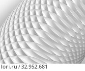 Купить «Abstract parametric background with bent structure made of white circles», иллюстрация № 32952681 (c) EugeneSergeev / Фотобанк Лори