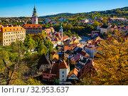 Купить «Cesky Krumlov cityscape with Castle, Czech Republic», фото № 32953637, снято 15 июля 2020 г. (c) Яков Филимонов / Фотобанк Лори