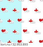 Купить «Pills, medical red cross, heart with a cardiogram. Pharmaceutical image seamless pattern on a blue white background. Pharmacy heart medicines, heart attack, analgesic, antidepressant, vitamin», иллюстрация № 32953893 (c) Светлана Евграфова / Фотобанк Лори