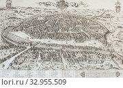 Seville overview in 1585 by Ambrosio Brambilla. Biblioteca Nacional de Madrid. Стоковое фото, фотограф Juan García Aunión / age Fotostock / Фотобанк Лори