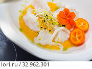 Sea food – cod ceviche with avocado sauce. Стоковое фото, фотограф Яков Филимонов / Фотобанк Лори
