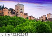 Alcazaba at Alhambra in sunrise time. Granada, Spain (2016 год). Стоковое фото, фотограф Яков Филимонов / Фотобанк Лори