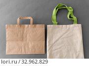 Купить «paper bag and reusable tote for food shopping», фото № 32962829, снято 3 мая 2019 г. (c) Syda Productions / Фотобанк Лори