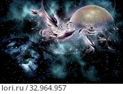 Купить «Abstract representation of the Universe and stellar galaxies with planets and space objects.», фото № 32964957, снято 12 июля 2020 г. (c) easy Fotostock / Фотобанк Лори