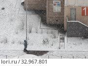 Купить «Одинокий маленький пешеход идет по тротуару. Город, зима, метель», фото № 32967801, снято 22 января 2020 г. (c) Наталья Николаева / Фотобанк Лори
