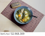 The fish soup of sea bass with celery on a plate close-up. Стоковое фото, фотограф Татьяна Ляпи / Фотобанк Лори