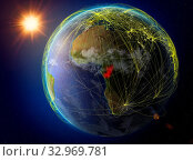 Congo from space. Planet Earth with network representing international communication, technology and travel. 3D illustration. Elements of this image furnished by NASA. Стоковое фото, фотограф Zoonar.com/Tomas Griger / easy Fotostock / Фотобанк Лори