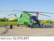 Тяжелый транспортный двухдвигательный вертолетоссийский вертолет Ми-38Т на  авиашоу МАКС-2019. Редакционное фото, фотограф Виктор Карасев / Фотобанк Лори