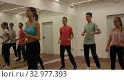 Купить «Cheerful teenage boys and girls dancing synchronous group choreography in dance hall», видеоролик № 32977393, снято 21 сентября 2019 г. (c) Яков Филимонов / Фотобанк Лори