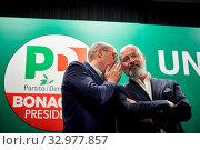 Купить «Democratic Party Secretary Nicola Zingaretti (L) and Stefano Bonaccini (R), candidate of the center-left for the presidency of Emilia Romagna, attend at...», фото № 32977857, снято 23 января 2020 г. (c) age Fotostock / Фотобанк Лори