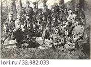 Портрет взвода военных связистов. 1945 год. Стоковое фото, фотограф Retro / Фотобанк Лори