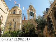Купить «Внутренний двор православного монастыря Герасима Иорданского», фото № 32982517, снято 11 января 2020 г. (c) Irina Opachevsky / Фотобанк Лори