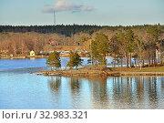 Купить «Stockholm archipelago, largest archipelago in Sweden, in Baltic Sea. Landscape on sunny day in early spring», фото № 32983321, снято 27 марта 2018 г. (c) Валерия Попова / Фотобанк Лори