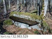 Купить «Краснодарский край, Туапсинский район, разрушенный дольмен в урочище Казачья Щель», фото № 32983529, снято 20 января 2020 г. (c) glokaya_kuzdra / Фотобанк Лори