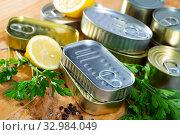 Купить «Close up of tin cans», фото № 32984049, снято 6 июля 2020 г. (c) Яков Филимонов / Фотобанк Лори