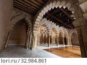 Купить «Interiors of medieval Aljaferia Palace, Zaragoza, Spain», фото № 32984861, снято 1 апреля 2020 г. (c) Яков Филимонов / Фотобанк Лори