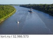 Das Frachtschiff Tanja auf dem Nord-Ostsee-Kanal bei Beldorf (Schleswig-Holstein, Deutschland). Стоковое фото, фотограф Zoonar.com/Photographer: Olaf Schulz / easy Fotostock / Фотобанк Лори