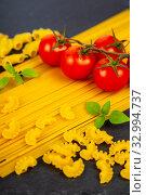 Купить «Spaghetti, tomatoes, chili peppers and spices», фото № 32994737, снято 12 апреля 2018 г. (c) Елена Блохина / Фотобанк Лори