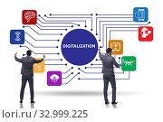 Купить «Digital transformation and digitalization technology concept», фото № 32999225, снято 5 апреля 2020 г. (c) Elnur / Фотобанк Лори