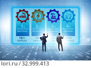 Купить «Industry 4.0 concept and stages of development», фото № 32999413, снято 6 июля 2020 г. (c) Elnur / Фотобанк Лори