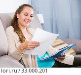 Купить «Woman studying productively», фото № 33000201, снято 21 марта 2017 г. (c) Яков Филимонов / Фотобанк Лори
