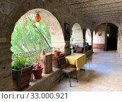 Купить «Галерея в православном Монастыре Герасима Иорданского», фото № 33000921, снято 11 января 2020 г. (c) Irina Opachevsky / Фотобанк Лори