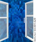 Opened window to the blue abstraction. Стоковая иллюстрация, иллюстратор Александр Птах / Фотобанк Лори