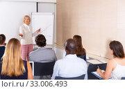 Купить «Mature woman sharing business ideas with colleagues», фото № 33006493, снято 25 мая 2020 г. (c) Яков Филимонов / Фотобанк Лори