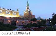 Купить «Alexander Garden near the Kremlin, Moscow, Russia (at night)», видеоролик № 33009421, снято 30 января 2020 г. (c) Владимир Журавлев / Фотобанк Лори