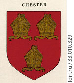 Coat of arms of the Diocese of Chester. From Cathedrals, published 1926. Редакционное фото, фотограф Classic Vision / age Fotostock / Фотобанк Лори