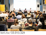 Купить «Round table discussion at business conference event.», фото № 33013329, снято 9 декабря 2019 г. (c) Matej Kastelic / Фотобанк Лори