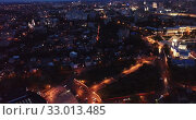 Купить «Aerial view of modern Voronezh cityscape in night lights, Russia», видеоролик № 33013485, снято 27 мая 2019 г. (c) Яков Филимонов / Фотобанк Лори