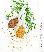 Семя льняное белое и коричневое в двух ложках на светлой доске сверху. Стоковое фото, фотограф Резеда Костылева / Фотобанк Лори