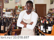 Salesman of wine shop standing near shelves. Стоковое фото, фотограф Яков Филимонов / Фотобанк Лори