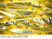 Купить «Coronavirus caution on yellow warning tape. Viral epidemyic and apndemic in China.», фото № 33018789, снято 19 мая 2020 г. (c) Maksym Yemelyanov / Фотобанк Лори