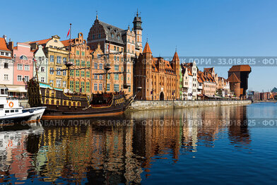 Motlawa river embankment in historical part of Gdansk at sunny day