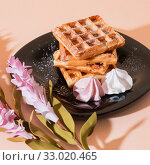 Купить «Sweet delicious dessert, homemade baked goods for breakfast. Belgian European soft waffles on a black plate and meringue», фото № 33020465, снято 30 ноября 2019 г. (c) Светлана Евграфова / Фотобанк Лори