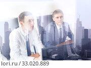 Купить «Business team analyzing data at business meeting in corporate office in new york city.», фото № 33020889, снято 6 июля 2020 г. (c) Matej Kastelic / Фотобанк Лори