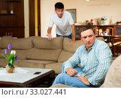 Купить «Sad man after discord with teen son», фото № 33027441, снято 6 июня 2020 г. (c) Яков Филимонов / Фотобанк Лори