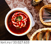 Купить «Russian borsch red soup with meat and sour cream», фото № 33027633, снято 6 июня 2020 г. (c) Яков Филимонов / Фотобанк Лори