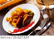 Купить «Tasty krill sausages with olives and corn», фото № 33027637, снято 23 февраля 2020 г. (c) Яков Филимонов / Фотобанк Лори