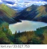 Купить «On coast of a mountain Siberian river», иллюстрация № 33027753 (c) Парушин Евгений / Фотобанк Лори