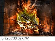 Купить «Fire in a fireplace», иллюстрация № 33027761 (c) Парушин Евгений / Фотобанк Лори