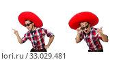 Купить «Funny mexican with sombrero in concept», фото № 33029481, снято 21 января 2014 г. (c) Elnur / Фотобанк Лори