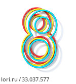 Купить «Three basic color wire font number 8 EIGHT 3D rendering illustration isolated on white background», фото № 33037577, снято 26 мая 2020 г. (c) easy Fotostock / Фотобанк Лори
