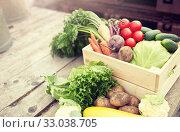 Купить «close up of vegetables on farm», фото № 33038705, снято 25 августа 2016 г. (c) Syda Productions / Фотобанк Лори